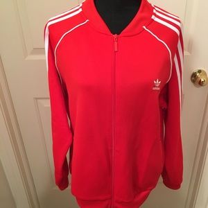 NWT AUTHENTIC ADIDAS TRACK RED/WHITE JACKET